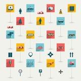 Coleção do sinal liso do transporte. Imagens de Stock Royalty Free