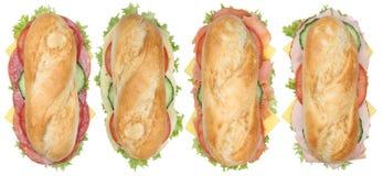 A coleção do sub imprensa baguettes com salame, presunto e chee Foto de Stock