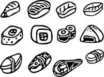 Coleção do sushi ilustração royalty free