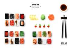 Coleção do sushi diferente Rolls, hashis, Wasabi, Ginger And Sauce Molde relativo à promoção Alimento do vetor da vista superior ilustração stock