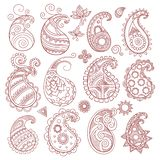 Coleção do teste padrão de Paisley Grupo grande do vetor cultural indiano e oriental dos elementos de matéria têxtil isolado ilustração do vetor