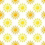 Coleção do teste padrão de Sun Grupo de papel sem emenda com ícones lisos da luz do sol no fundo branco Ilustração do vetor ilustração stock