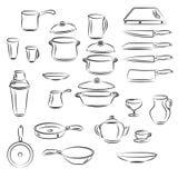 Coleção do utensílio da cozinha Fotos de Stock