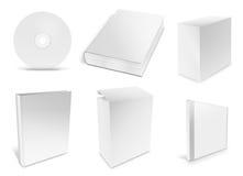 Coleção do vário Livro Branco vazio no branco Imagens de Stock