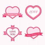 Coleção do Valentim das etiquetas ilustração stock