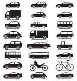 Coleção do veículo com vário jipe, carro, ônibus, bicicleta, ícones da silhueta do caminhão ilustração royalty free