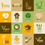 Coleção do vegetariano e de ícones orgânicos Imagens de Stock Royalty Free