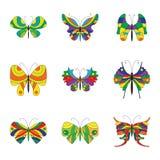 Coleção do verão de borboletas coloridas Fotografia de Stock