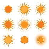 Coleção do vetor: ícones do sol Fotos de Stock