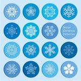Coleção do vetor: ícones dos flocos de neve do Natal e do ano novo Imagens de Stock Royalty Free