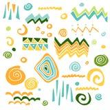 Coleção do vetor com elementos gráficos: triângulo, ziguezague, espiral, ponto, ponto, onda ilustração stock