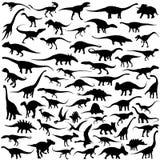 Coleção do vetor da silhueta do dinossauro Foto de Stock Royalty Free
