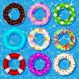 Coleção do vetor da vista superior dos anéis de borracha que flutuam na segurança do boia salva-vidas da água da piscina, equipam Imagem de Stock Royalty Free