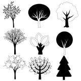 Coleção do vetor das árvores Fotografia de Stock