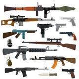 Coleção do vetor das armas Pistolas, metralhadoras, assalto e rifles de atirador furtivo, faca, granada Imagem de Stock Royalty Free