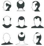 Coleção do vetor das cabeças calvas da silhueta Fotografia de Stock
