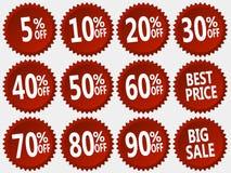 Coleção do vetor das etiquetas vermelhas do disconto ajustadas Imagem de Stock Royalty Free