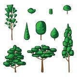 Coleção do vetor de árvores e do arbusto verdes Ícones ajustados ilustração stock