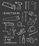 Coleção do vetor de ícones do reparo da casa ilustração stock