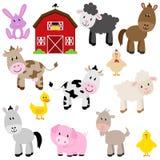 Coleção do vetor de animais de exploração agrícola bonitos dos desenhos animados Fotos de Stock