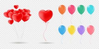 Coleção do vetor de balões realísticos para a celebração e de decoração no fundo transparente ilustração stock