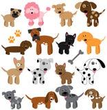 Coleção do vetor de cães bonitos dos desenhos animados Fotos de Stock Royalty Free