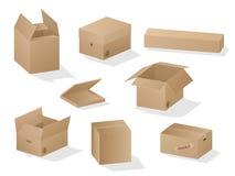 Coleção do vetor de caixas de papel protegidas bonitas da caixa marrom realística no fundo branco ilustração do vetor