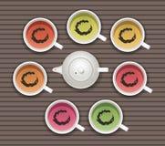 Coleção do vetor de copos de chá ilustração royalty free