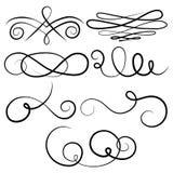 Coleção do vetor de elementos caligráficos do projeto Fotos de Stock Royalty Free