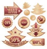 Coleção do vetor de etiquetas da árvore de Natal Fotos de Stock