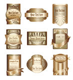 Coleção do vetor de etiquetas douradas luxuosas Foto de Stock