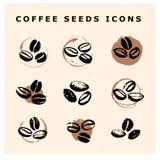 A coleção do vetor de feijões de café tirados mão projeta os elementos isolados no fundo textured Foto de Stock Royalty Free
