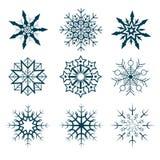 Coleção do vetor de flocos de neve abstratos Foto de Stock Royalty Free