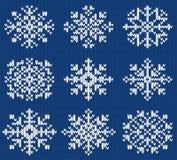 Coleção do vetor de flocos de neve de confecção de malhas Fotografia de Stock