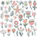Coleção do vetor de flores extravagantes ilustração stock