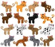 Coleção do vetor de gatos bonitos e brincalhão ilustração stock