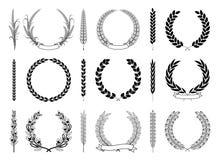 Coleção do vetor de Laurel Wreaths e dos ramos ilustração do vetor