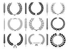Coleção do vetor de Laurel Wreaths e dos ramos ilustração royalty free