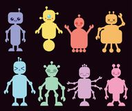 Coleção do vetor de robôs coloridos ilustração royalty free