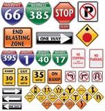 Coleção do vetor de sinais de estrada Fotografia de Stock Royalty Free