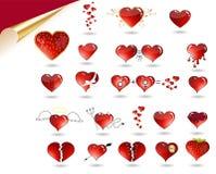 Coleção do vetor de vários corações. Imagens de Stock Royalty Free