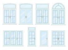 Coleção do vetor de vários tipos das janelas ilustração royalty free