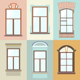Coleção do vetor de vários tipos das janelas Para o interior e o uso exterior Estilo liso Fotografia de Stock Royalty Free