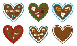 Coleção do vetor do coração do pão-de-espécie, presente o mais oktoberfest bávaro, Imagens de Stock Royalty Free