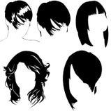 Coleção do vetor do corte de cabelo das mulheres Foto de Stock