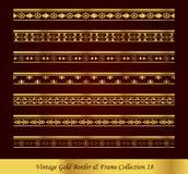 Coleção 18 do vetor do quadro da beira do ouro do vintage Imagens de Stock