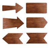 Coleção do vetor do vário sinal de madeira vazio Imagens de Stock Royalty Free