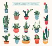 Coleção do vetor dos cactos e das plantas carnudas Fotos de Stock Royalty Free