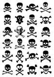 Coleção do vetor dos crânios & dos Crossbones no CCB branco Fotos de Stock Royalty Free