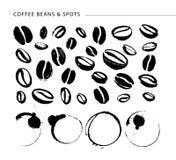 Coleção do vetor dos elementos tirados mão do projeto do logotipo do café isolados no fundo textured Fotos de Stock